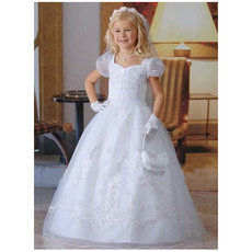 Classic Princess White Bubble Skirt First Communion Dresses/ Toddler Short Puff Sleeves Full Length Flower Girl Dresses