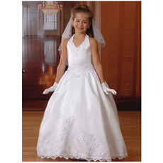 Ball Gown Halter&V-neck White Satin First Communion Dresses with Beaded Appliques