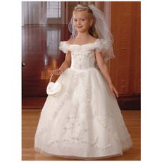 Luxury Off-The-Shoulder Beaded Appliques Tulle First Communion Dresses