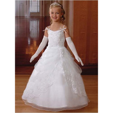 Pretty Custom Ball Gown Spaghetti Straps First Communion Dresses with Jacket/ White Full Length Flower Girl Dresses