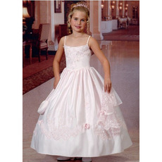 Beautiful Princess Spaghetti Straps Beaded Appliques Satin First Communion Dresses with Jacket