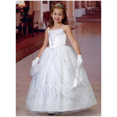 Princess Pretty Spaghetti Straps Embroidery Color Block First Communion Dresses with Short Sleeveless Jacket