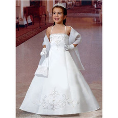 Little Girls Princess White First Communion Dresses with Wrap