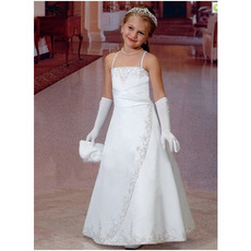 Princess Cute White First Communion Dresses/ Satin Embroidery Beaded Flower Girl Dresses