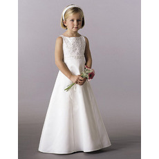 Lovely A-Line Bateau Neckline Beaded Satin Ivory First Communion Dresses with Bowknot