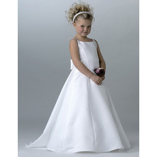 Lovely A-Line Beaded White First Communion Dresses with Keyhole Back