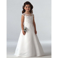 Pretty A-Line Round Neckline Floor Length Satin First Communion Dresses with Beaded Appliques