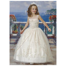 Pretty Princess Ball Gown Spaghetti Straps Lace Ankle Length Embroidery First Communion Dresses with Jacket/ Ivory Flower Gi