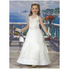 Lovely A-Line Halter Floral Ankle Length Satin First Communion Dresses/ Fashionable Flower Girl Dresses