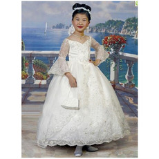Elegant Ball Gown Sweetheart Lace Long Sleeves Bubble Skirt First Communion Dresses/ Flower Girl Dresses