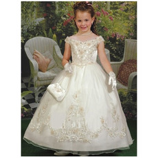Popular Designer Ball Gown Off-the-shoulder Tulle Ankle Length Applique First Communion Dresses
