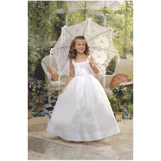 Cute Ball Gown Square White Full Length Embroidery First Communion Dresses/ Affordable Flower Girl Dresses