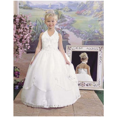 Gorgegous Beading Appliques Ball Gown Halter & V-neck First Communion Dresses with Two Layered Skirt