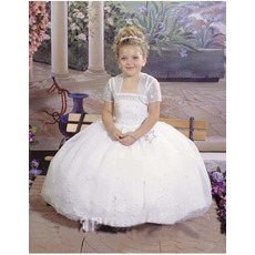 Spring Princess Lace Ball Gown Spaghetti Straps White First Communion Dresses with Jacket/ Custom Flower Girl Dresses