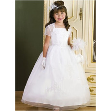 Princess Ball Gown Straps Ankle Length First Holy Communion Dresses with Jacket/ Luxury Beaded Appliques White Flower Girl Dress