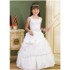 Gorgeous White Ball Gown Square Floor Length First Communion Dresses/ Princess Pick-up Layered Flower Girl Dresses