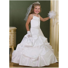 Gorgeous Ball Gown Sweetheart Beaded White First Communion Dresses/ Custom Pick-Up Full Length Flower Girl Dresses with Embroide