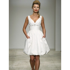Simple Ball Gown V-Neck Ivory Mini Reception Wedding Dresses/ Taffeta Short Beach Bridal Dresses