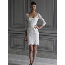 Elegant Short Sheath Square 3/4 Length Sleeves Lace Mini Reception Wedding Dresses