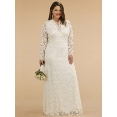 Empire V-Neck Lace Long Sleeves Plus Size Wedding Dress/ Floor Length Embroidery Reception Bridal Dress