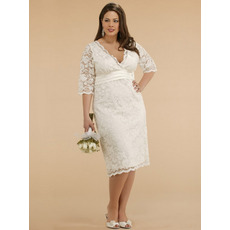 Empire V-Neck Tea Length Lace Satin Plus Size Embroidery Wedding Dress/ Half Sleeves Reception Bridal Dress