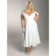 Sexy Custom V-Neck Cap Sleeves Tea Length Chiffon Plus Size Wedding Dresses/ Inexpensive Reception Bridal Dresses