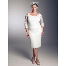 Elegant Sheath/ Column Round Knee Length 3/4 length Sleeves Lace Plus Size Wedding Dresses