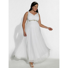 Empire Waist Ankle Length Plus Size Chiffon Bridal Wedding Dresses