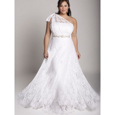 Elegant Empire A-Line One Shoulder Full Length Plus Size Lace Wedding Dresses with Beaded Waist
