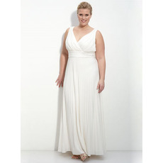 Charming Custom Sheath Plus Size V-Neck Ankle Length Chiffon Reception Beach Wedding Dress