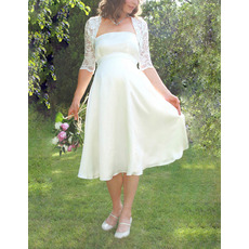 Simple Maternity Empire Wedding Dress with Jackets for Pregnant Women