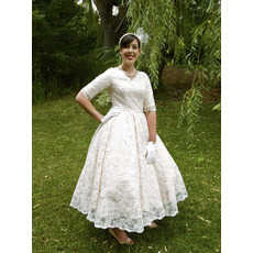 Custom A-Line V-Neck Tea Length Lace Garden Wedding Dresses with Half Sleeves