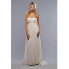 Elegant Strapless Floor Length Chiffon Maternity Wedding Dresses/ Inexpensive Ivory Bridal Gowns