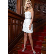 Stylish Short Beach Wedding Dresses/ Chic Sexy Sheath Mini Petite Bridal Dresses with Beading