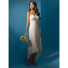 Romantic Spaghetti Straps Chiffon Asymmetrical Beach Empire Wedding Dresses/ High Low Reception Bridal Dresses