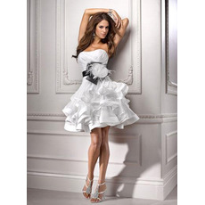 Modern A-Line Petite Tiered Mini Reception Wedding Dresses