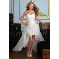 Modern A-Line Sweetheart Petite Applique Organza High-Low Garden Wedding Dresses
