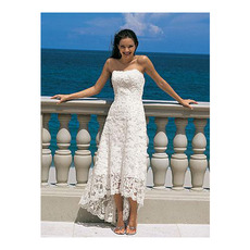 Elegant Empire Strapless Tea Length Petite Lace Beach Wedding Dresses