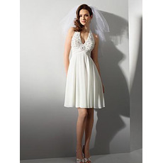 Affordable Empire Halter Knee Length Short Chiffon Beach Wedding Dresses/ Casual Reception Wedding Gowns