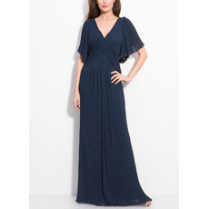 Discount Sheath V-Neck Plus Size Short Flutter Sleeves Full Length Mother of the Bride Dresses