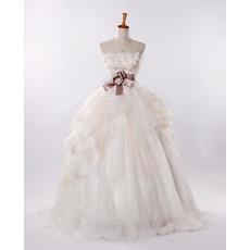 Elegant Fall A-Line Strapless Long Church Bridal Wedding Dresses