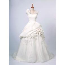 Inexpensive Fall A-Line V-Neck Long Church Bridal Wedding Dresses