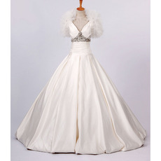 Fall Elegant A-Line V-Neck Satin Organza Floor Length Church Bridal Wedding Dresses