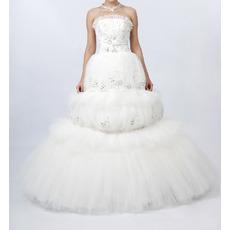 Luxurious A-Line Strapless Long Church Bridal Wedding Dresses