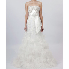 Dramatic A-Line Beaded Bodice Bridal Wedding Dresses with 3D-flowers and Feather