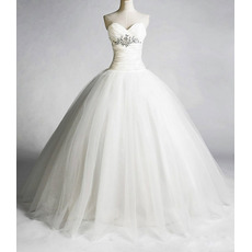 Elegant A-Line Sweetheart Organza Taffeta Pleated Beaded Floor Length Church Wedding Dresses