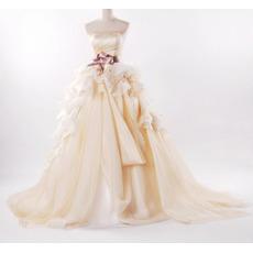 Fall Elegant A-Line Floor Length Church Bridal Wedding Dresses