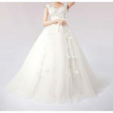 Fall Inexpensive A-Line Sweetheat Applique Taffeta Floor Length Church Bridal Wedding Dresses