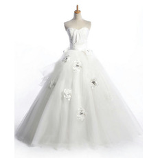 Affordable Ball Gown Ruched Bodice Satin Tulle Bridal Wedding Dresses with 3D-flowers Crystal Detailing