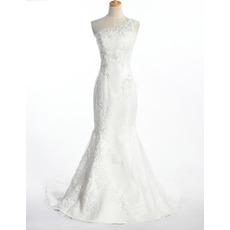 Fall Sexy Mermaid One Shoulder Long Church Bridal Wedding Dresses